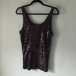 The limited black sequin tank top xl
